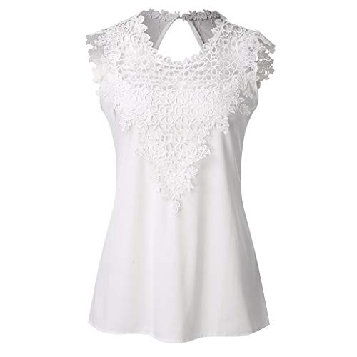 Witspace Women Summer Sexy Sleeveless Lace Hollow Casual Tank Top Blouse White