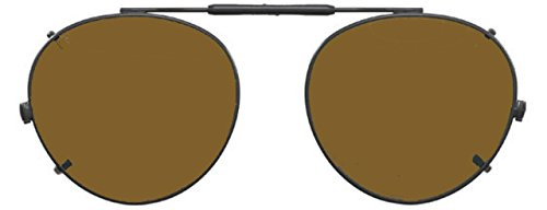 Visionaries Polarized Clip on Sunglasses - Round - Black Frame - 47 x 42 - Sunglasses Non Vs Polarized