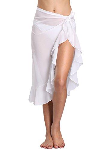 Dailybella Womens Chiffon Beach Sarong Ruffle Cover up Pareo Canga Swimsuit Wrap Swimwear (One Size, White)