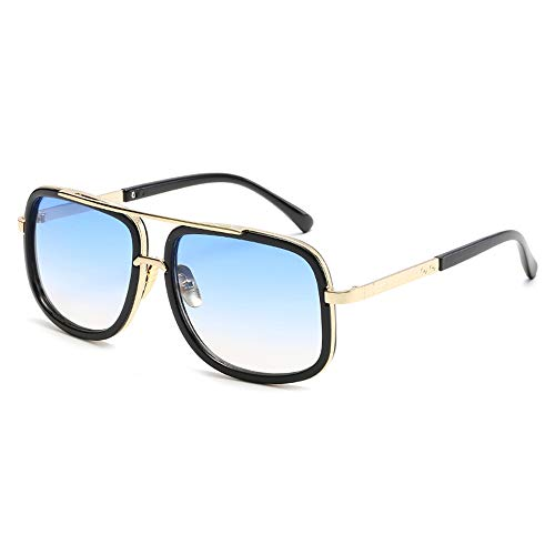 Aviator Sunglasses For Men Women Retro Vintage Square Designer Shades with Case (Black Frame/Gradient Blue Lens)