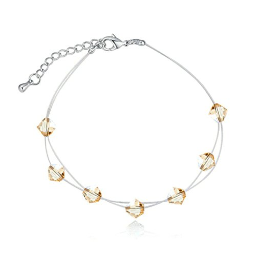 Crystal Flush Mount Gold Plated (AmDxD Jewelry Gold Plated Women Charm Bracelet Gold Rhombus CZ Inlaid with Extender Chain,as a Gift)