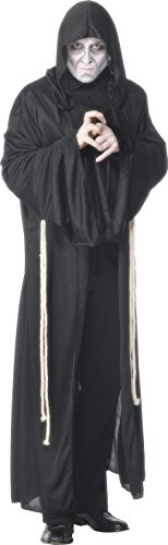 Black Robe Costume Uk (Smiffy's Men's Grim Reaper Costume, Hooded Robe and Rope Belt, Legends of Evil, Halloween, Size M, 29367)