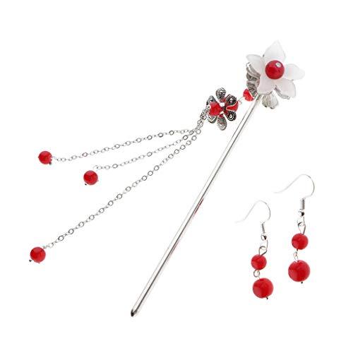 Chinese Hair Sticks Chopsticks Bun Holder Metal Hair Pin Flower Earrings Set (Color - Red)