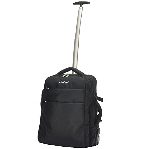 3 in 1 Wheeled Cabin Approved Trolley Travel Bag Flight Backpack Hand Luggage Suitcase Holdall Laptop Bag (Black)