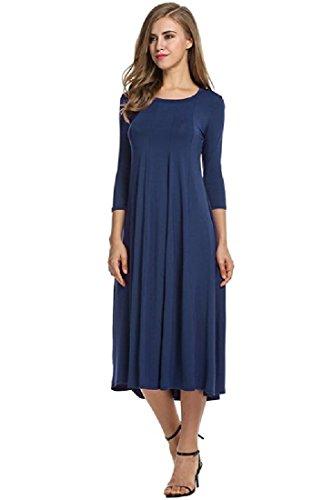 Coolred-femmes Coton De Base Longue Robe De Soirée Maxi Scoop Confortable Manches Bleu Violacé