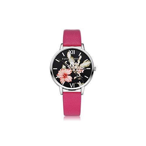 Casual Flower Silver Women Business Leather Quartz Wrist Watches Ladies Dress Clock Wristwatch,Rose Red -