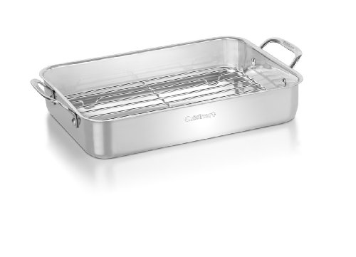 CUISINART 7117-14RR Chef's 14-Inch Classic Lasagna Pan with Stainless Roasting Rack, Silver