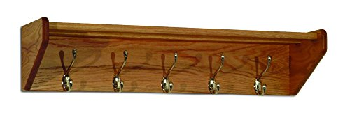 Wooden Mallet 33-Inch 5-Nickel Hook Shelf, Light Oak by Wooden Mallet