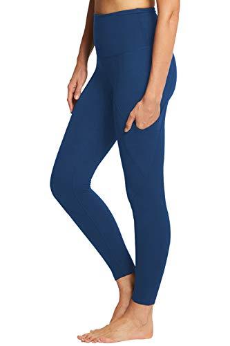 COCOLEGGINGS Women's Fold Over Waist Cropped Leggings Tight Pants Royal Blue S