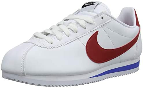 Nike Women's Classic Cortez Size 8 Leather Casual Shoes Red White Blue Pre Owned