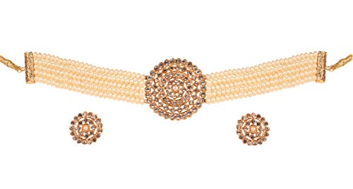 """Touchstone""""Padmavati Collection Indian Bollywood Traditional Faux Pearls Grand Designer Jewelry Choker Necklace Set in Antique Gold Tone for Women. (White)"""
