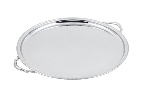 Bon Chef 61337 Stainless Steel Serving Round Tray with Handle and Etching, 20 Diameter