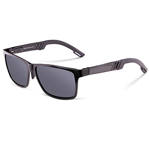 Duco Men's Sports Style Polarized Sunglasses Driver Glasses 2217 Black Frame Gray - Construction Sunglasses