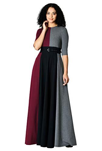 eShakti FX Colorblock Cotton Knit Belted Maxi Dress Black/Vibrant Garnet/Charcoal