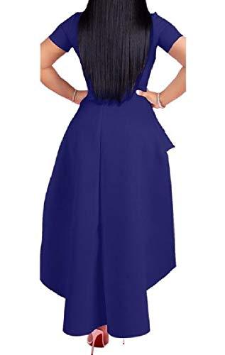 Manica Blu Irregolare Lungo Della Balza Plus Sexy Coolred Abito Cerniera donne size Metà Corta S4IqBnx