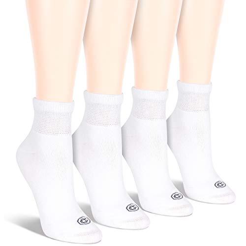- Doctor's Choice Women's Non-Binding Circulatory Diabetic 4 Pack White Cushioned Quarter Socks, Shoe Size 4-10