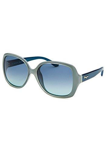 Salvetore Ferragamo Sunglasses SF715S 443 Azure Petrol Wood 56 15 - Sunglasses Petrol Rectangular