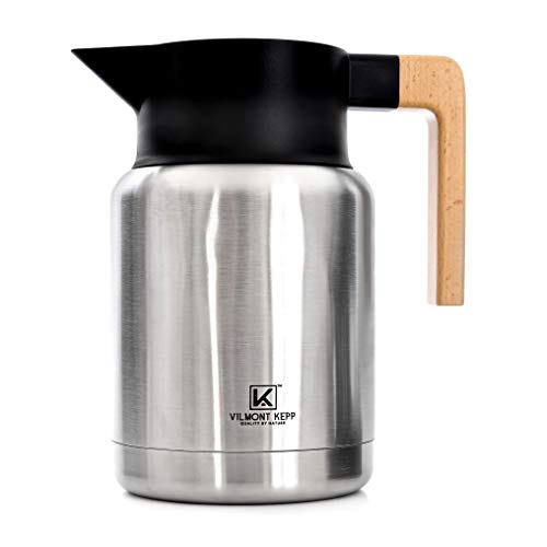 Premium Sturdy 50 oz Thermal Vacuum Carafe for Coffee Tea, Hot or Cold Drinks, Double Walled Stainless Steel Insulated, Beechwood Handle No-Drips Wide Mouth in a Gift Box