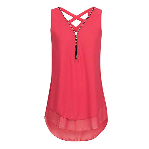 (iLUGU Women Loose Sleeveless Cross Back Hem Layed Zipper V-Neck T Shirts)