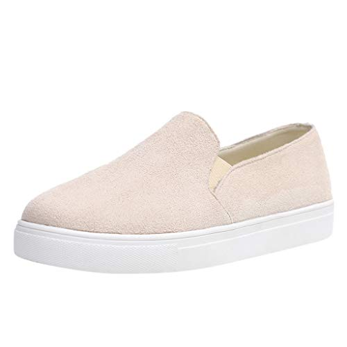 - Women's Perforated Slip On Sneakers Casual Canvas Loafers Sports Running Shoes by Nevera Beige