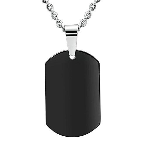 803378606111 Daesar Colgante Collar Joyería Collar Colgante de Mujer y Hombre Cuadrado  Placa de Militar Dog Tag