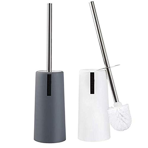 FANSUSENKE Toilet Brush and Holder, 2 Pack Toilet Brush with Stainless Steel Long Handle, Toilet Bowl Brush for Bathroom Toilet-Ergonomic, Elegant,Durable