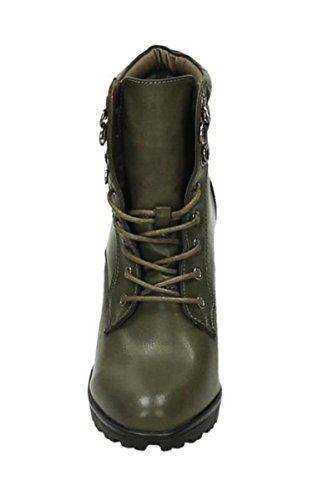 Worker Damen Outdoor Stiefeletten Shoes Ankle Profilsohle Grün Plateau Schnür Boots Schuhe King Of Stiefel 13 wAHIqq