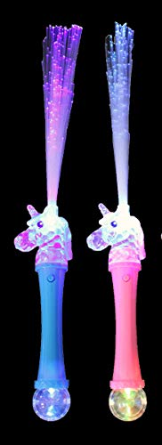 Light Up Unicorn Fiber Optic Wand 2pk - Princess Girls Flashing Multicolor LED Light Toy - Great for Halloween Costumes, Birthday, Concert, Festival, Party Favors - Pink and Blue
