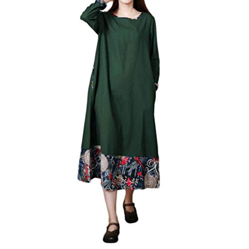 Cotton Armoire (Long Sleeves Dress Women Plus Size Alinen Dress Folk-Custom Loose Splicing Cotton)