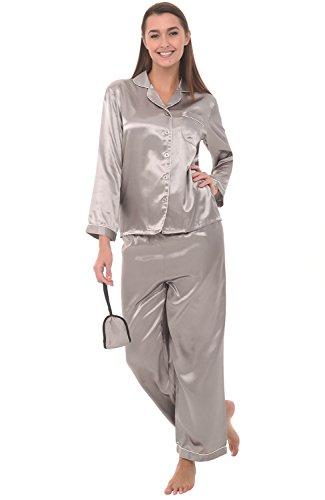 del-rossa-womens-satin-pajamas-long-button-down-pj-set-and-mask-medium-mercury-a0750mrcmd