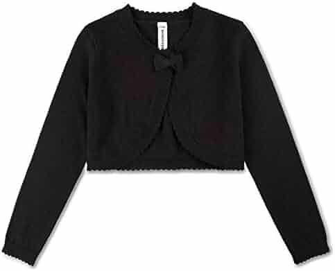a9135852d BOBOYOYO Girl's Cardigan Sweater Long Sleeve Bow Shrug Short Cotton Dress  Cover Up 3-12Y