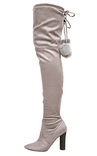 Ikrush Womens Blaire Pompom Faux Suede Knee High Boots Grey UK 8 BIP1I