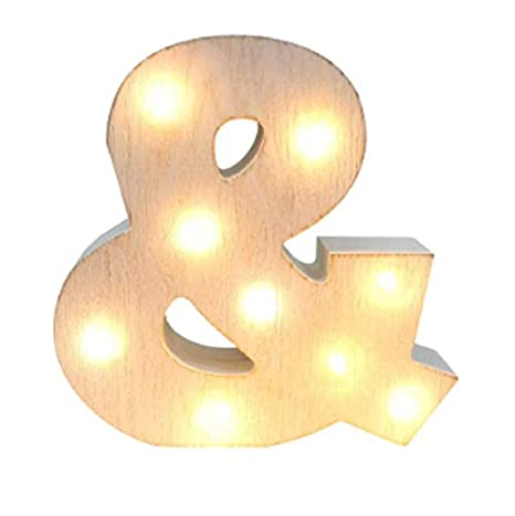 /& Light Up Letters LED Whitewashed Rustic Wooden Ampersand Lights for Festival Decorative Decor Christmas,Party,Wedding Monogram Initial