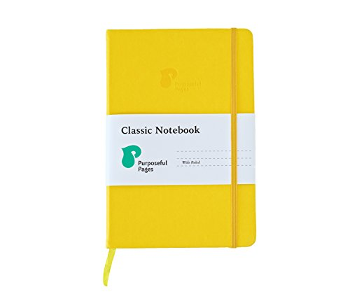 Classic Leather Hardcover Writing Notebook: A5 Notebooks with Bookmark, Elastic Band & Pocket for School, Business or Travel - 192 Pages - Wide Ruled Ivory Lined Paper - Yellow - 5.8 x 8.3 Inches by Purposeful Pages