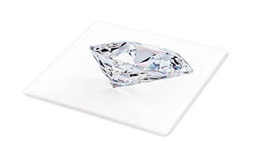 Lunarable Diamonds Cutting Board, 3D Image of a White Topaz with Reflections Nobility Royalty Treasure Theme, Decorative Tempered Glass Cutting and Serving Board, Small Size, Multicolor