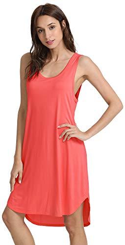 Womens Sleep Tank - GYS Women's Soft Bamboo Scoop Neck Nightgown, Small, Peach Pink