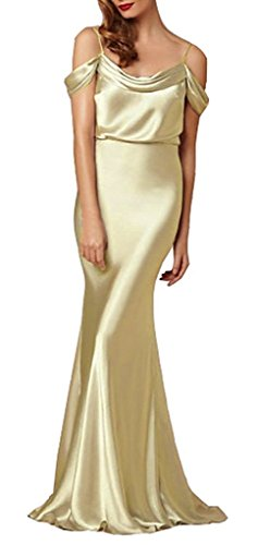 Satin Sheath (Women's off the Shoulder Floor Length Sheath Satin Evening Dress Size 2 Gold)