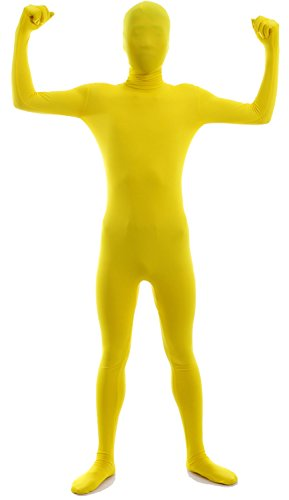 VSVO Second Skin Zentai Full Body Costume (Kids Large, Lemon Yellow)