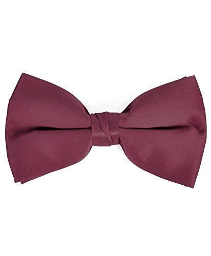 Banded Wine (Men's Solid Banded Bow Ties (Wine))