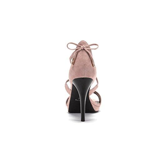 Romantico Tacchi 39 Sandali Scarpe Dimensioni Alti Nudi Crossover Modo Camoscio Piedi Rosa Di colore 5xqOnfpYpw