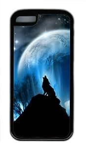 Sakuraelieechyan Wolf Under the Moon-1 Iphone 5C Black Sides Rubber Shell TPU Case