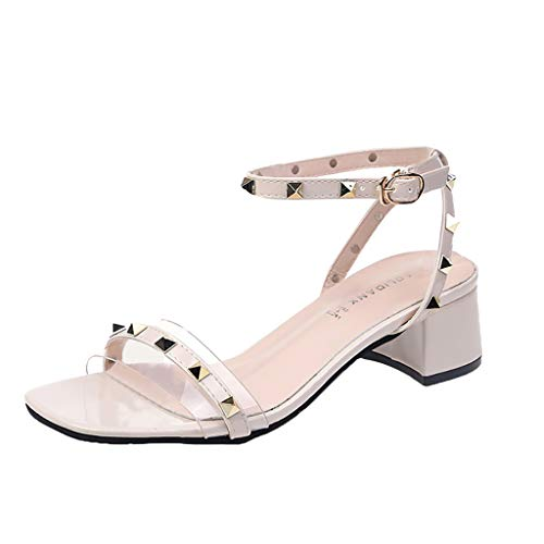 Kailemei Women Casual Summer Sandals Rivet Middle High Heels Square Toe Party Ankle Strap Shoes Beige from Kailemei