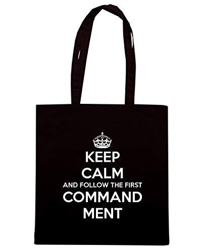 Speed Shirt Borsa Shopper Nera TKC3000 KEEP CALM AND FOLLOW THE FIRST COMMAND MENT