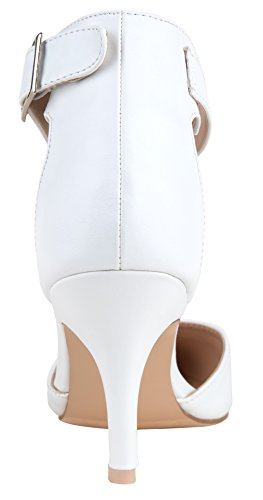 Heels Pumps Strap VOSTEY Pu Women White Shoes Ankle Shoes Heel Low Women pYaY0