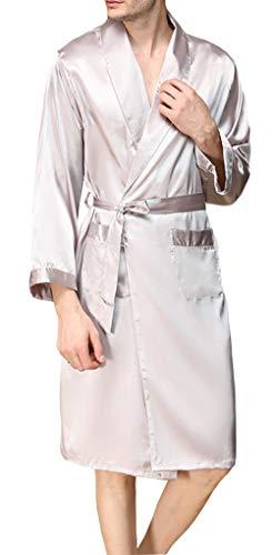 YIMANIE Mens Silk Satin Robe Lightweight Spa Bathrobe with Shorts Nightgown Long Sleeve House Kimono Luxurious Bathrobe Set Silver Grey