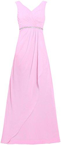Fourmis Bandoulières V Femmes Robes Du Soir En Cristal Rose Robe De Bal Longue