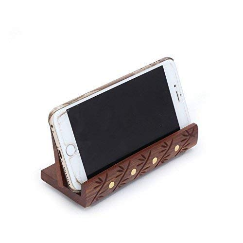 - IndiaBigShop Wooden Mobile Stand, Carving Inlay with Brass Strip Mobile Holder, Visiting Card Holder