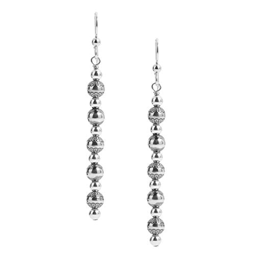 American West Sterling Silver Native Pearl Linear Dangle Earrings 2-3/4 Inch