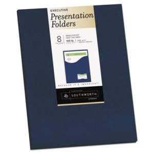 Southworth Co One-Pocket Presentation Folders, 9 x 12, Navy, 8/Pack (3 Pack)