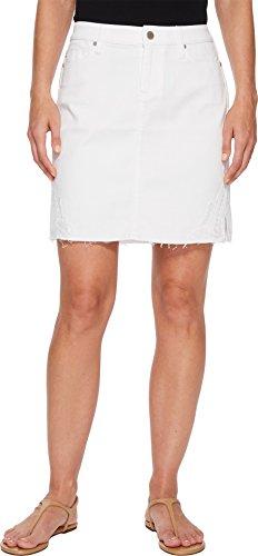 Liverpool Women's Slit Hem Skirt In Comfort Stretch Denim In Bright White Bright White 12